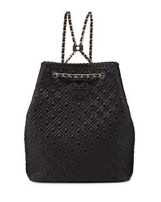 Marion Quilted Leather Backpack, Black by Tory Burch at Neiman Marcus.