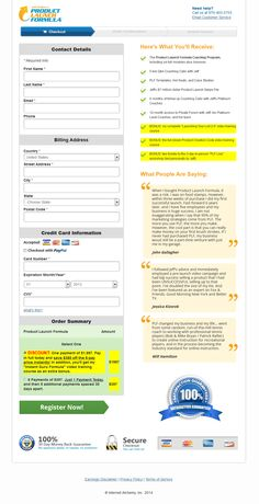 Jeff Walker's Product Launch Formula Order Page
