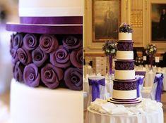 vier Etagen Hochzeitstorte lila Rosen
