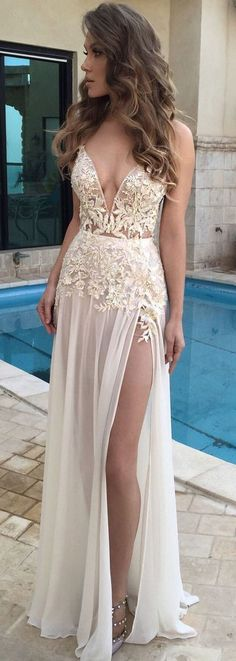Sexy V-Neck Prom Dress, Charming Side Split Prom Dress,Party Prom Dresses