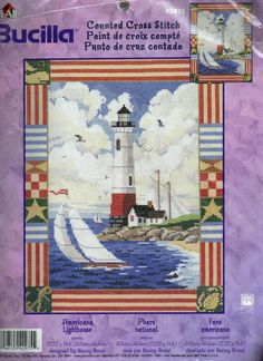 Bucilla Americana Lighthouse Counted Cross Stitch Kit 42975  Brand: Bucilla Artist: Nancy Rossi UPC: 046109429755 Theme: Americana, Patriotic, Lighthouses Finished Size:12.25 inches x 14.4 inches Made in the USA
