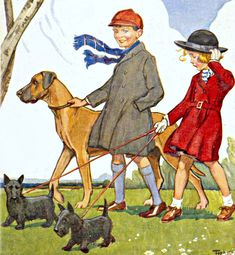 My Puzzles - Children - Vintage - Walking Dogs on Windy Day