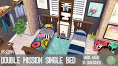 My Sims 4 Blog: Double Mission Single Bed [Base Game Recolours] by...