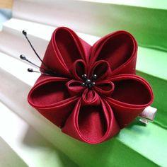 Red and black ume silk kanzashi alligator clip