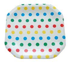 Prato de papel poá colorido / pratinhos coloridos para festas. Pacote com 8 und.