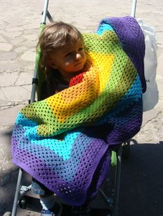 Rainbow Crochet Baby Blanket Granny Square Afghan Multicolor Red Orange Yellow Blue Green Purple Home Decor Gift Spring Summer Baby Afghan Crochet, Manta Crochet, Crochet Bebe, Baby Afghans, Afghan Crochet Patterns, Crochet For Kids, Crochet Blankets, Crochet Granny, Baby Blankets
