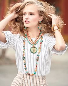 Long beaded necklace by Jose & Maria Barrera. Turquoise, coral, and carnelian beads. Starburst Earrings, Gold Statement Earrings, Long Pendant Necklace, Long Necklaces, Semi Precious Beads, Fashion Books, Beaded Jewelry, Silver Jewelry, Pink Jewelry