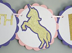 Unicorn 1st Birthday Party Banner. This girl unicorn banner is a great addition to your girl birthday party. Click for more color and wording options.
