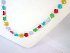 Recycled Button Necklace and Bracelet Set  by Pookledo on Etsy, £12.00