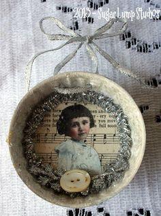 Miss Mistletoe HANDMADE Vintage Mold Ornament