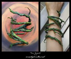 """""""Tree branch"""" Wire covered with birch bark. Painted with acrylic colors"""