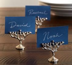 Menorah Place Card Holder, Set of 4 #potterybarn... Oh my heck. Why did I look at Pottery Barn's Hanukkah collection?????? Sigh....