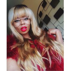 Full Fringe Bangs Flawless Makeup Bold Red Lip Hairstyle Weave Wig Hair Style Old Skool Glasses Black Beauty Pammacb