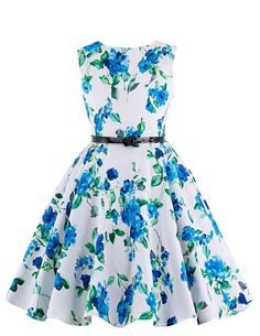Sukienka dla dziewczynki w niebieskie kwiaty | sukienki w stylu pin-up, retro…