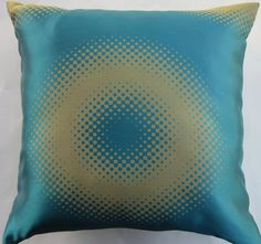 This fabric is so fun and offers so many variations! Turquoise blue and green gold (or is it goldish green?) circles. Front and back shown. Until