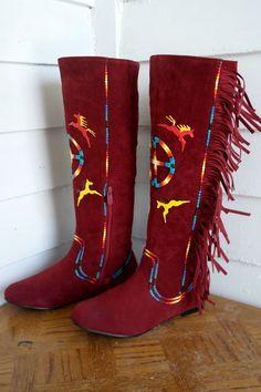 Size  6.5 Rez Hoofz Red with Frindge Made to order Item by REZHOOFZ on Etsy