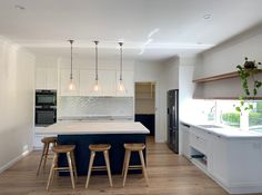 Island cabinetry in Dulux Grid, benchtop Caesarstone Cloudburst. Island pendant lights available on request. Kitchen Butlers Pantry, Two Tone Kitchen Cabinets, Butler Pantry, Island Pendant Lights, Island Pendants, Modern Grey Kitchen, Room Tiles, Design Projects, Grid