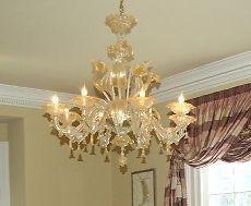 """Living Room 30"""" clear/24 K Gold, Venetian Blown Glass Murano 8 light Chandelier #Murano $2000. EBAY"""