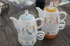 Zakka creative cartoon rabbit couples coffee kettele and mugs ceramic three-piece tea set with stainless steel filter