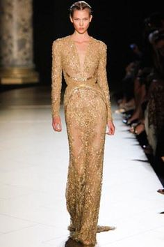Elie Saab Fall 2012 Couture Strapless Sequins Gown as seen on Karlie Kloss