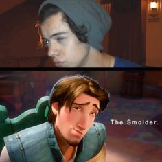 """Harry Styles and Flynn Rider: """"The Smolder."""" Spot on Harold, if you ask my opinion..."""