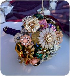 brooch bouquet, love this!!