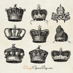 Vintage Crowns Digital Collage Sheet No. C41. $3.99, via Etsy.
