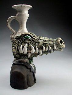 Alligator Face Jug Raku Pottery Folk Art Sculpture by Grafton | eBay