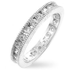 @Overstock - Click here for Ring Sizing ChartCubic zirconia eternity bandAccessorize in style with this vintage-inspired jewelry  http://www.overstock.com/Jewelry-Watches/Silvertone-Vintage-Stackable-Cubic-Zirconia-Eternity-Band/3031713/product.html?CID=214117 $19.79