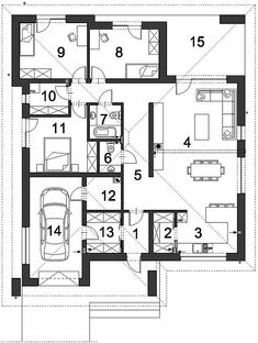 Projekt domu Dostępny D45 wariant I 120,57 m2 - koszt budowy - EXTRADOM Brick Design, Dream House Plans, Design Case, Building Plans, Planer, Floor Plans, How To Plan, House Styles, Home Plans