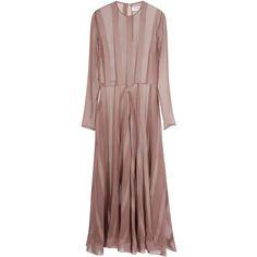 Barbara Casasola Nude Silk Dress ($3,160) ❤ liked on Polyvore featuring dresses, brown silk dress, longsleeve dress, drop-waist dresses, draped dress and barbara casasola