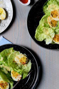 Jacques Pépin's Pan-Crisped Deviled Egg Salad | http://joythebaker.com/2016/02/jacques-pepins-pan-crisped-deviled-egg-salad/