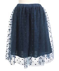 Look at this Blue Tulle Dot Overlay Skirt on #zulily today!