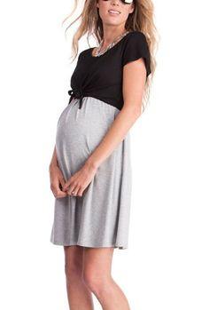 9e3b003b05dee Maternity Fashion - skinny maternity dresses : Chulianyoouhuo Women Nursing Maternity  Dress Short Sleeve Double Layered Breastfeeding Dress Black Gray S ...