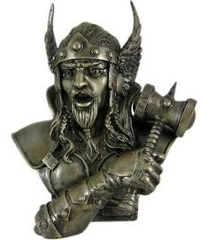 Amazon.com - 11.75 Inch King Odin Warrior God Head and Bust Statue ... Viking Art, Viking Warrior, Viking Wedding, Collectible Figurines, Grey Paint, Gods And Goddesses, Gifts For Family, Thunder, Thor