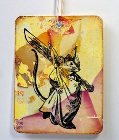 First try: image transfer on tag Mouse rubber stamp / Mouse wih knife / Unmounted by MAKIstamps