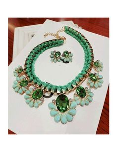 Crystal Embellished Flowers Pendants Weave Necklace Green YW14072807-1.http://www.clothing-dropship.com