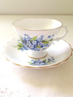 Vintage English Bone China Tea Cup and Saucer by MariasFarmhouse, $32.00