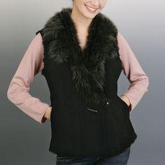 BGSD Women's Toscana Fur Trim Sheepskin Shearling Vest in Black
