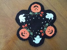 Primitive Country Pumpkins, Ghosts, and Stars Candle Mat/Mug Rug w/fs