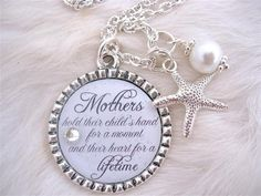 Inspirational Quote Necklace or Keychain in pure white and silver.  Includes a starfish charm and pearl color of choice. (White will be given unless otherwise specified)  Pendant  can have any background color and be personalized with any message,  High class, trendy look!!!!The perfect gift for the Mother of the Bride or Mother of the Groom.Comes with an 18