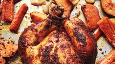 "This recipe comes from Martha's book ""One Pot: 120 Easy Meals from Your Skillet, Slow Cooker, Stockpot, and More. One Pot Chicken, Chicken Spices, Roast Chicken, Grilling Recipes, Cooking Recipes, Turkey Recipes, Dinner Recipes, Dinner Ideas, Pea Recipes"