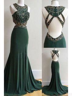 Dark Green Open Back Long Mermaid Prom Dresses