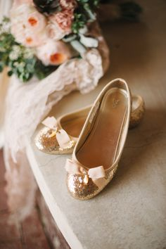 Gold flats. . .This will look cute on flower girls