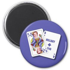 Hillary Clinton As Blackjack Cards For President 2 Inch Round Magnet