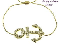Gold Tone Nautical Anchor Adjustable Bracelet Gold Pave Crystal Metal Chain #Bangle