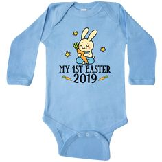 e75dba83c Cute boy bunny baby rabbit with my Easter 2019 quote on a Long Sleeve  Creeper outfit.