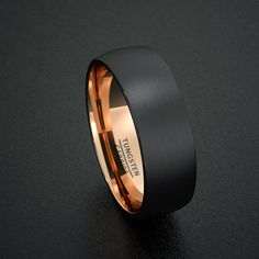 Mens Wedding Band Tungsten Ring Two Tone 8mm Rose Gold Inside Matted Brushed Surface Dome Comfort Fit