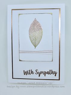 handmade cards handmade sympathy card from Stamp with Nellie . leaf heat embossed with shades of metallic gold . Scrapbook Cards, Scrapbooking, Making Greeting Cards, With Sympathy Cards, Handmade Sympathy Cards, Leaf Cards, Embossed Cards, Get Well Cards, Fall Cards