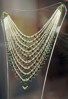 An antique 'Satlada' necklace embedded with 1,888 pearls, once a possession of Arab world's most famous singer, Umm Kulthoum